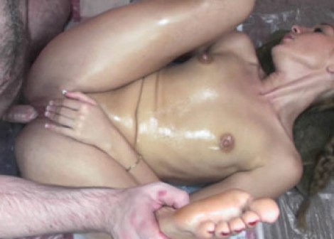 Lina covered in oil and getting fucked